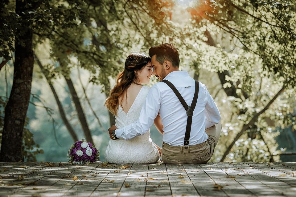 romantic couple at a wedding
